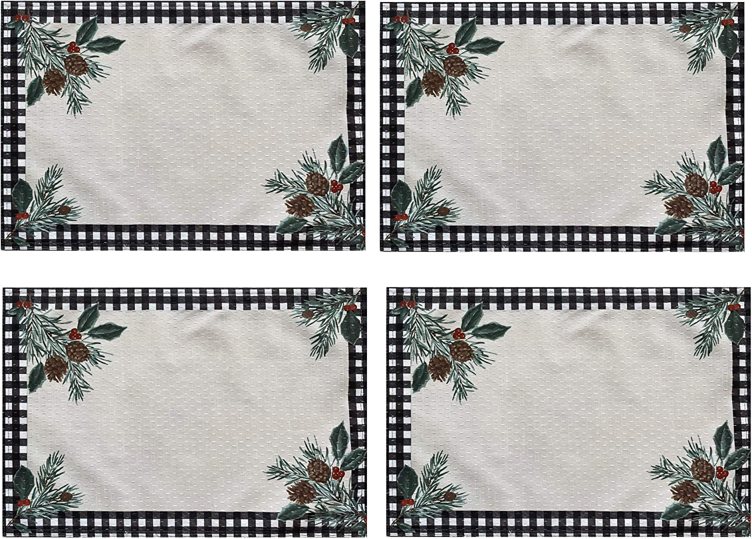 Lintex Festive Berry Black Plaid Country Rustic Bordered Christmas Placemats Cottage Check and Holly Bordered Xmas and Holiday Print Easy Care Fabric Placemats Set of 4 Bordered Placemat