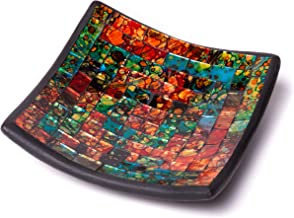 """Glass Mosaic Square Accent Plate Platter Decorative Catch-All Tray Dish Centerpiece Bowl - 6"""" with Green, Orange, Blue, Bl..."""