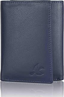 HORNBULL Navy Blue Tri-fold Leather Wallet