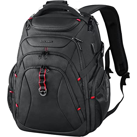 KROSER Travel Laptop Backpack 17.3 Inch XL Heavy Duty Computer Backpack with Hard Shell Saferoom RFID Pockets Water-Repellent Business College Daypack Stylish School Laptop Bag for Men/Women-Black