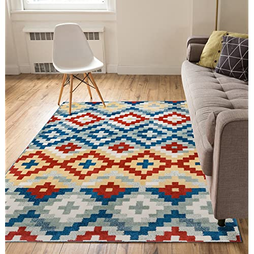 Well Woven Tierra Multi Red, Blue, Ivory Southwestern Modern Geometric Medallion Pattern Area Rug Soft Shed Free 5 x 7 (5' x 7') Easy to Clean Stain Resistant
