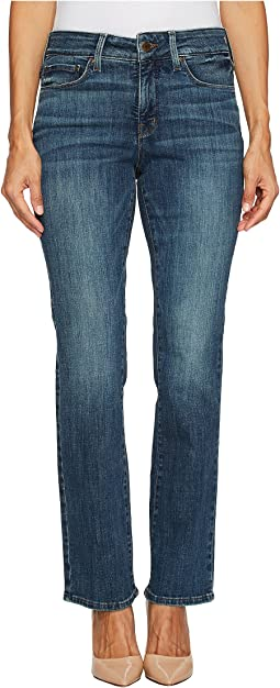 NYDJ Petite Petite Marilyn Straight Jeans in Crosshatch Denim in Desert Gold