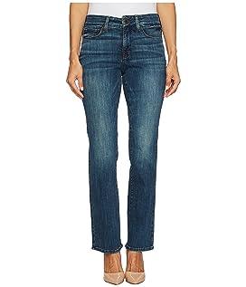 Petite Marilyn Straight Jeans in Crosshatch Denim in Desert Gold