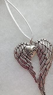 Pet Memorial Guardian Angel Wings w/ Pawprint Christmas Ornament In Memory Sympathy Gift