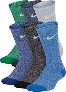 Boys Performance Crew Socks - 6 Pair (Medium, Multicolor 3)