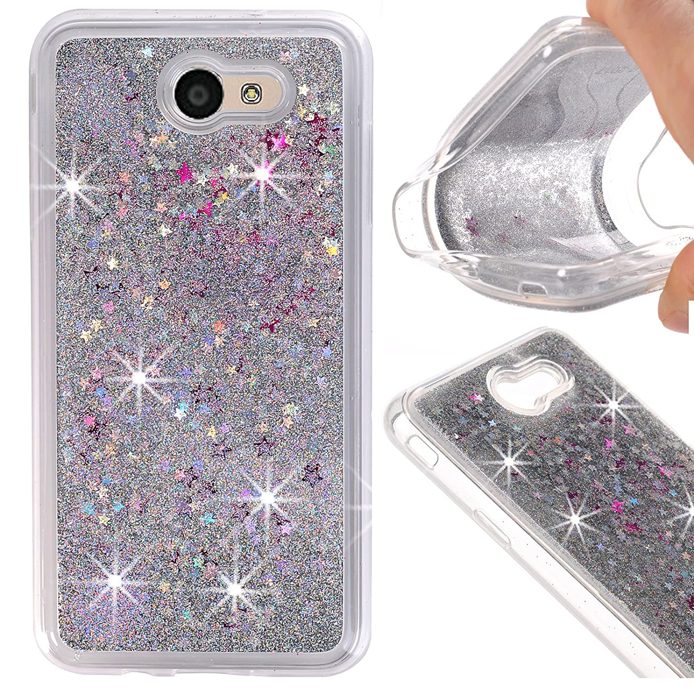 Galaxy J7 Case ,J7 Glitter Case,Binguowang Quicksand Design Flowing Liquid Floating Luxury bling Glitter Sparkle Stars Clear Hard Case Cover For Samsung Galaxy J7 2017 (Silver)