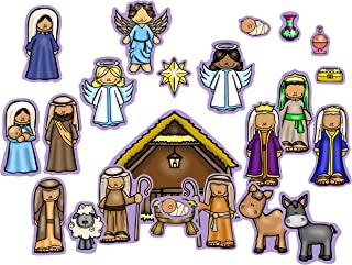 Nativity Birth of Baby Jesus Felt Figures for Flannel Board Stories 23 Pieces Activity Pages Christmas Storytelling