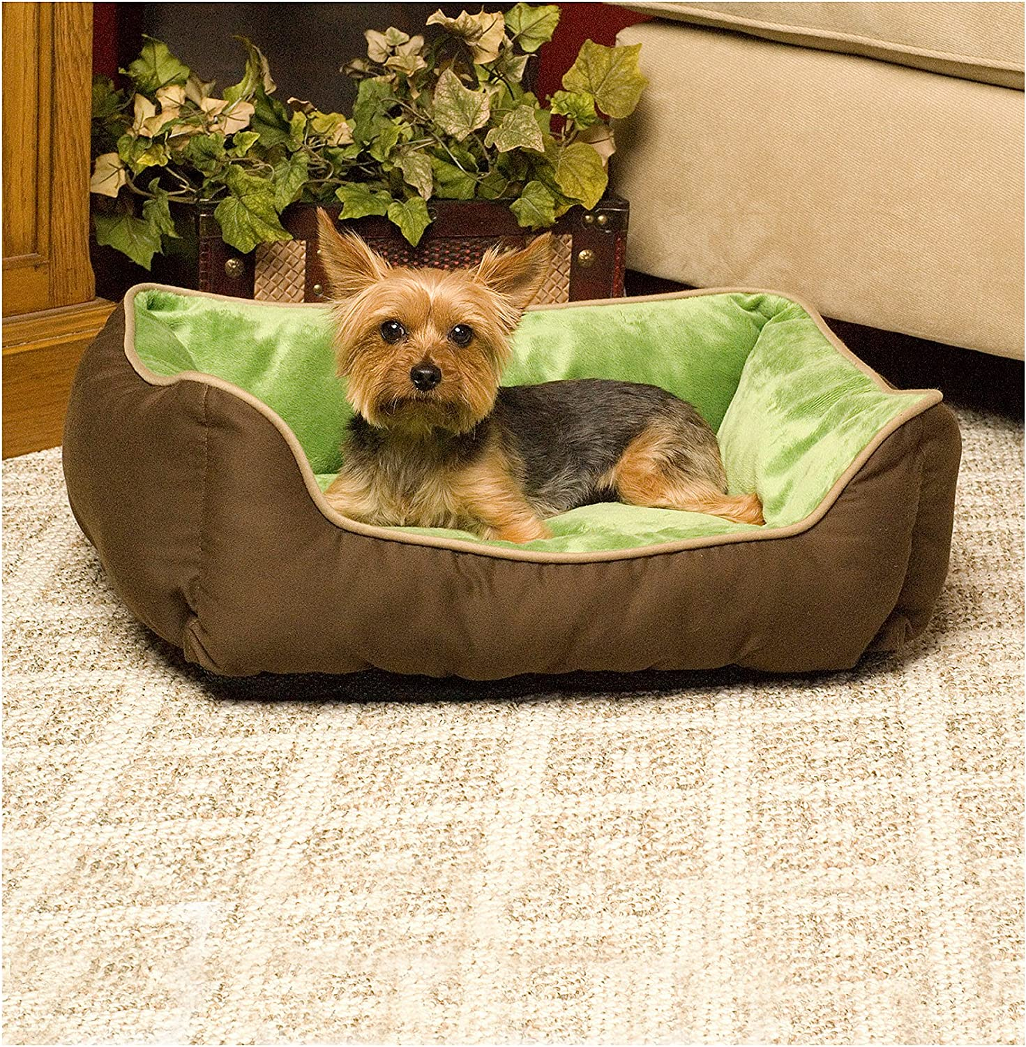 Self Warming Lounger Dog Bed  Mocha & Green