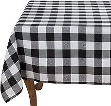 Fennco Styles Buffalo Plaid Checkered Classic Cotton Blend Tablecloth - 2 Colors (Black, 70x70 Tablecloth)