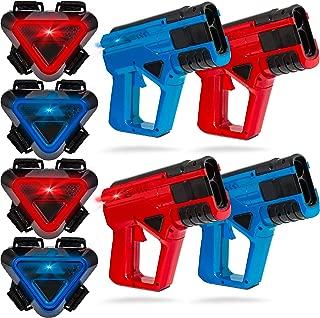 SHARPER IMAGE 4-Player Toy Laser Tag Gun Blaster & Vest Armor Set for Indoor & Outdoor Battle Games