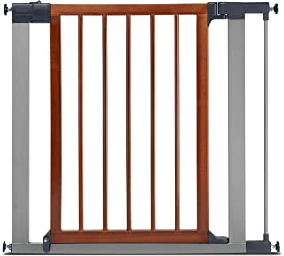 Munchkin Wood & Steel Pressure Mount Baby Gate for Stairs, Hallways and Doors, Wood/Light Silver, Model MK0007-012