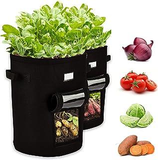 10 Gallon Potato Grow Bags, 2 Pack Premium Fabric Plant Pots W/ Visualization Window & Label Inserts, Heavy Duty Non-Woven...