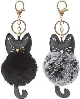 Faux Fur Ball Pom Pom Key Chain Ring for Women Girls Bag Pendant