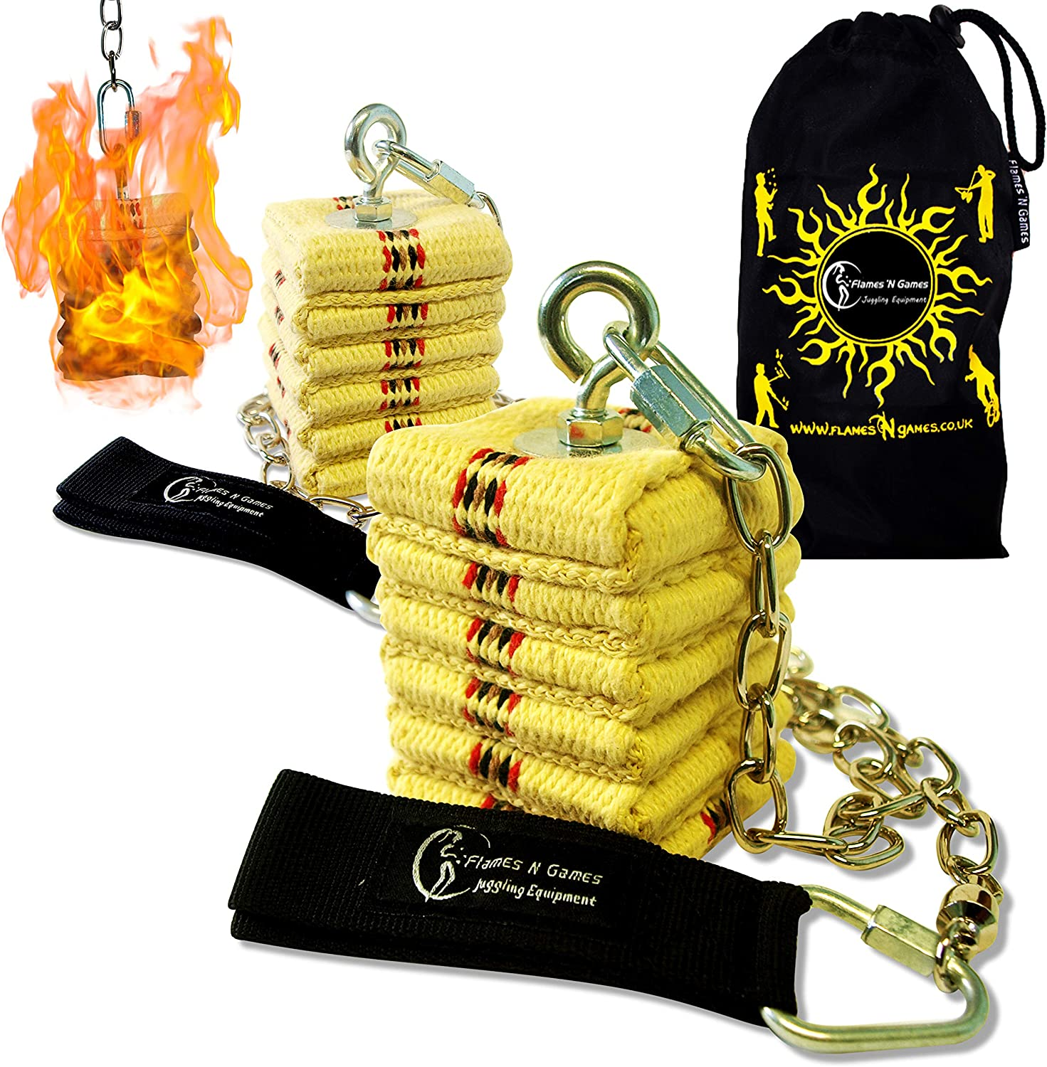 Pro CATHEDRAL kevlar Fire Poi Set + Max 53% OFF 'N Flames Travel Game by Seattle Mall Bag