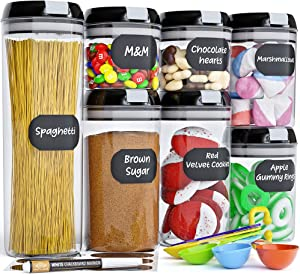 Chef's Path Airtight Food Storage Container Set - 7 PC - Kitchen & Pantry Organization - BPA-Free - Plastic Canisters with Durable Lids Ideal for Cereal, Flour & Sugar - Labels, Marker & Spoon Set
