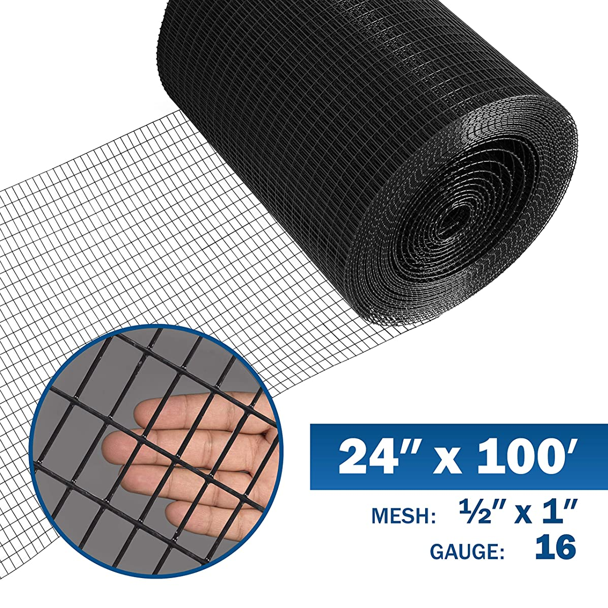 Fencer Wire 16 Gauge Black Vinyl Coated Welded Wire Mesh Size 0.5 inch by 1 inch (2 ft. x 100 ft.)