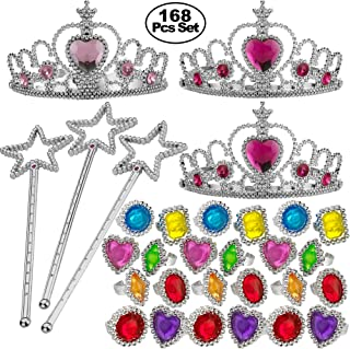 Princess Party Supplies - 168 Pcs Pretend Play Set for Kids, Girls Dress Up Birthday Party Favor Toy Assortment & Costume Decorations Include - 12 Princess Crown Tiaras, 12 Star Wands, 144 Jewel Rings