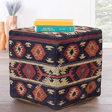 "Handicraft Bazarr Kilim Bean Bag Cube Shape Wool Jute Handmade 18"" Vintage Footstool Decorative Mudda Case for Anyroom Fl"