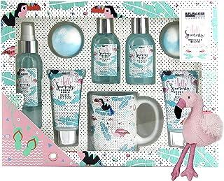 BRUBAKER Cosmetics Set de baño y ducha coco playa - 9 piezas - Set de regalo de belleza con taza de cerámica y colgante ...