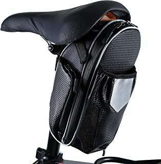 SHINYEVER Bike Seat Packs, 1.8L Large Bicycle Saddle Bags with Water Bottle Pouch Waterproof Bike Saddle Bags for Mountain Road Bicycle Storage Repair Kit Tools Gear Accessories