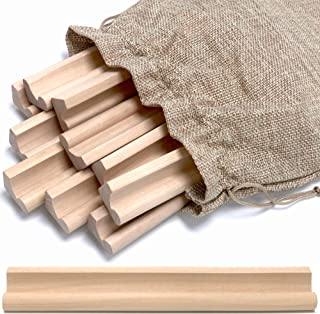 Pure Ponta Scrabble Tile Holder Stand | 10 Pack Wooden Scrabble Racks with Canvas Bag - Wood Trays for Crafts and Game Piece Holder | 10 Light Maple Wood Scrabble Letter Holders Stands