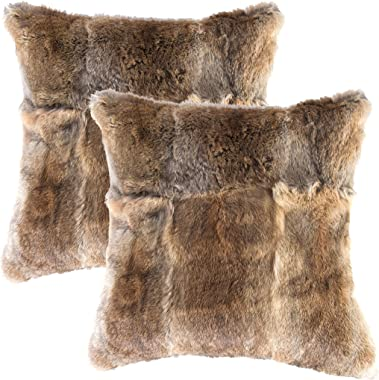 Set of 2, Natural Handcrafted Rabbit Fur Pillow with Polyfil Insert and Zipper Closure, Hazelnut, 18 in x 18 in