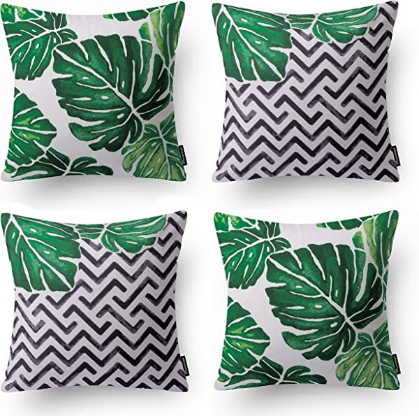 Phantoscope Set Of 4 Tropical Green Monstera Throw Pillow Case Cushion Cover 18 X 18 Inches 45cm X 45cm