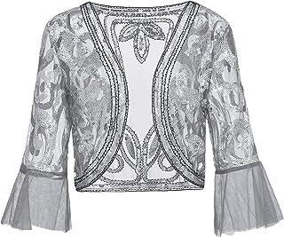 Metme Paillettenjacke Bolero Stola für Abendkleid 1920s Retro Schal Geöffnete Vorderseite Glitter Hochzeit Party Gatsby Kostüm