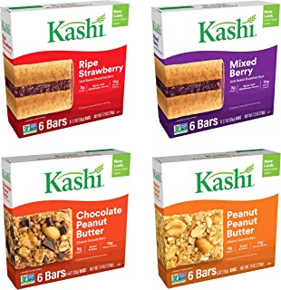 Kashi Chewy Granola Bars Variety Pack - Ripe Strawberry & Mixed Berry Cereal Bars, Chocolate Peanut Butter & Peanut Butter Chewy Granola Bars - 24 Pack