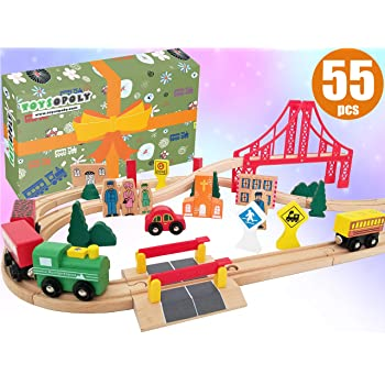 Wooden Train Tracks Full Set, Deluxe 55 Pcs with 3 Destination Fits Thomas, Brio, IKEA, Chuggington, Imaginarium, Melissa and Doug - Best Gifts for Kids Toddler Boys and Girls