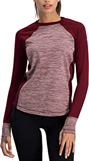 Long Sleeve Compression Workout Tops for Women - Thermal Running Shirt, Dry Fit w/Thumbholes