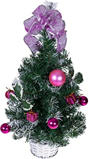 """Clever Creations Tabletop Christmas Tree Decorated with Pink Balls, Presents and Holly in a Silver Basket   Festive Holiday Décor   Classic Theme   Lightweight Shatter Resistant   23.5"""" Tall"""