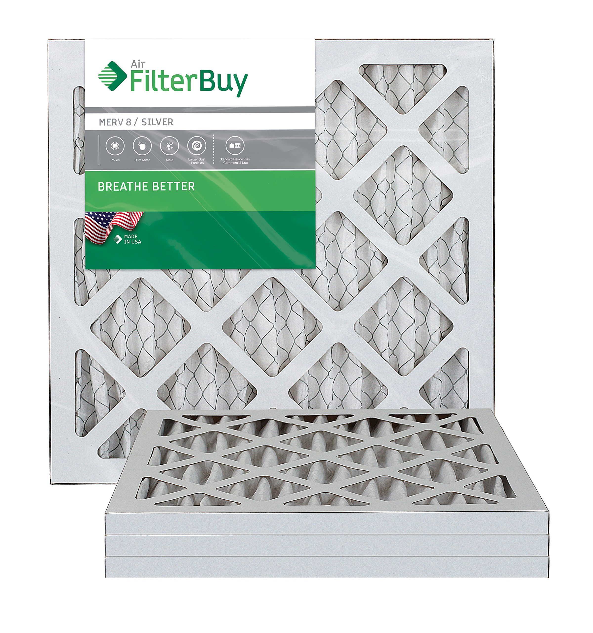 FilterBuy 6x12x1 MERV 8 Pleated AC Furnace Air Filter, (Pack of 4 Filters), 6x12x1  Silver