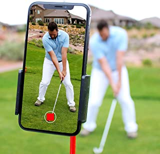 HoleN1 Golf Cell Phone Clip Holder and Training Aid to Video Record Swing - Clips to Golf Alignment Sticks and Golf Club Shaft - Works with any iPhone or Android Phone, Premium Golf Accessories