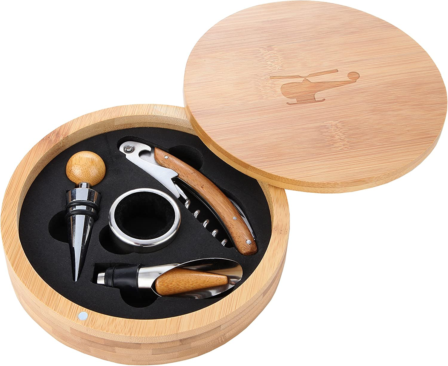 Helicopter Wooden OFFicial site Accessories Company Wine Tool Set - Regular store Portable W