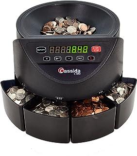 Cassida C100 Electronic Coin Sorter/Counter, Countable coins 1�, 5�, 10�, 25�, 250 coins/min, 110 VAC