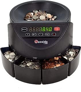 Cassida C100 Electronic Coin Sorter/Counter, Countable coins 1¢, 5¢, 10¢, 25¢, 250 coins/min, 110 VAC