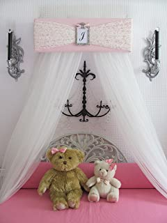 Bedroom Girls Bed Crib Canopy Pink Ivory LACE with WHITE sheer curtains SALE