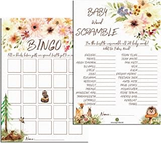 100 Sugar Vibes Woodland Animals Baby Shower, Bingo/Scramble, Baby Shower Games, Woodland Baby Shower, Woodland Creatures Baby Shower, Double-Sided, 2 Designs, 100 Games Total, 50 Bingo, 50 Scramble