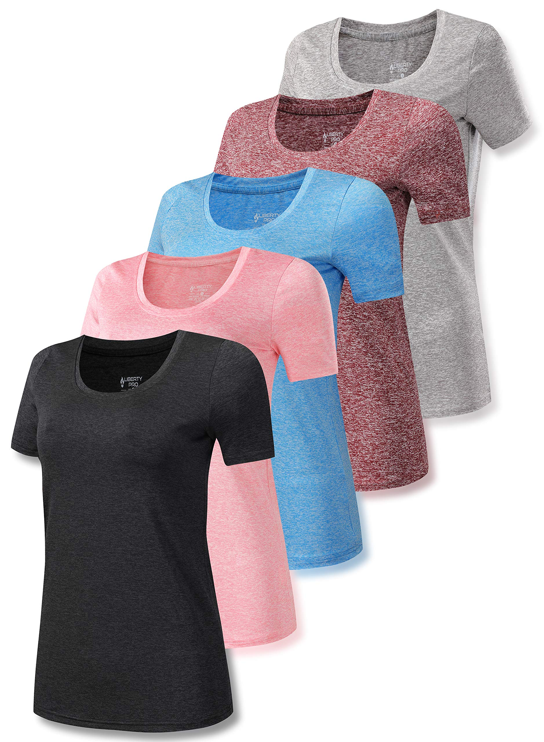 Set of 5 Women's Heathered Active Scoop Neck T Shirts, Short Sleeve Workout Tops for Gym and Yoga