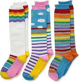 Jefferies Socks Girls' Little Colorful Rainbow Knee High Socks 3 Pair Pack