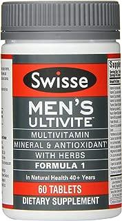 Swisse Men's Ultivite Tablets, Men's Daily Multivitamin, 60 Tablets, Premium Formula of Vitamins, Minerals, Antioxidants and Herbs for Men's Health, for Men 18 and Older*