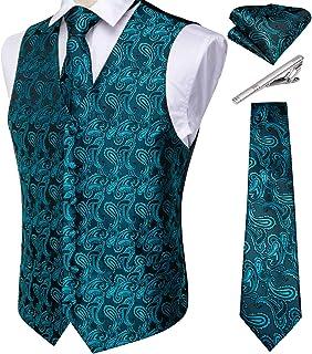 DiBanGu Men's Paisley Waistcoat and Necktie Bowtie Pocket Square Cufflink Vest Suit Set for Tuxedo