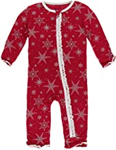 KicKee Pants Print Muffin Ruffle Coverall with Zipper (12-18 Months, Crimson Snowflakes)