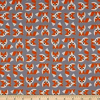 Cloud 9 Fabrics Organic Ed Emberley Favorites Foxes Grey