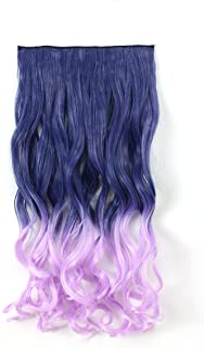 """OneDor 20"""" Curly - 3/4 Full Head Dip-dye Two Tone Color Synthetic Clip In Hair Extensions (20"""" inches-Curly, Violet Ombre TwoTone-T2511/TF2403AT)"""