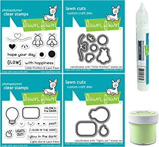 Lawn Fawn - Glow-In-the-Dark Embossing Powder, Glue Tube, Lights Out and Fireflies Stamp & Die Sets - 6 Items