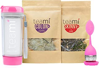 Teami® 30-Day Detox Tea Starter Pack: All-Natural Teatox Kit with Teami Skinny & Teami Colon Cleanse Loose Leaf Herbal Teas (w/20oz Pink Tumbler and Infuser)
