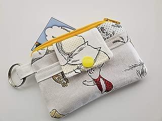 Zipper Mini Wallet Pouch Key Chain Fabric Card Holder Winnie the Pooh Piglet Eeyore