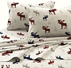 Tribeca Living PLRE170SHEETCK Plaid Moose Printed Flannel Deep Pocket Sheet Set, Cal King